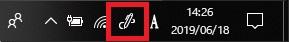 通知領域の[Windows Ink ワークスペースボタン]を選択する画像