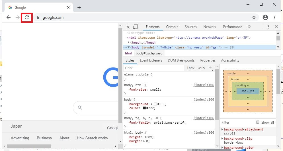 Google Chromeの「デベロッパーツール」を開いた画像