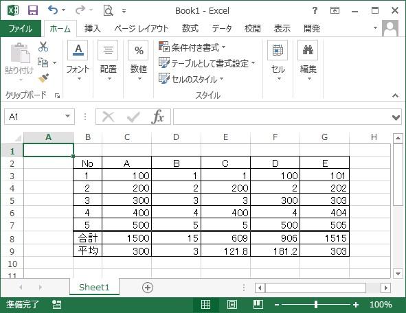 合計と平均が表示された表の画像