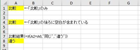 空白の入った文字列をIF関数で比較した画像