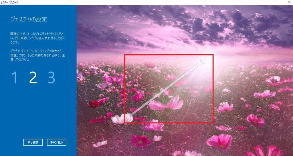 画像上で直線の「ジェスチャ」を設定した画像